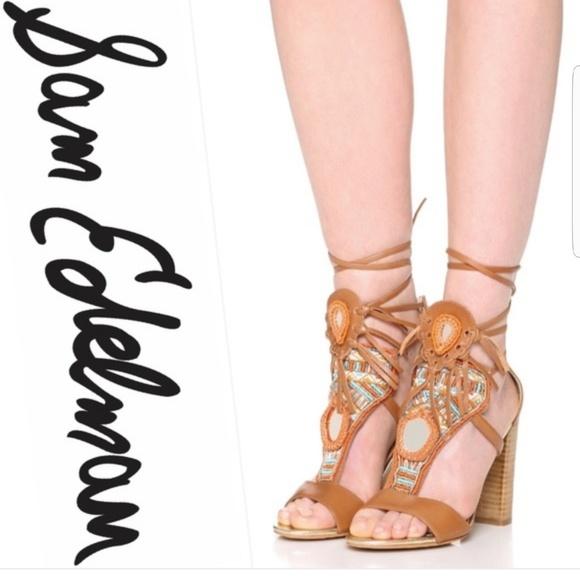 cd51ffa1a Sam Edelman Yvette block heel beaded sandals. M 5b9c934461974555c33692a0